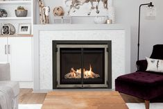 Series shown with Driftwood, Plain Black Liner and Edgemont Doors Direct Vent Gas Fireplace, Vented Gas Fireplace, Linear Fireplace, Fireplace Inserts, Fireplace Ideas, Fireplace Design, Valor Fireplaces, Through The Roof, Heat Exchanger