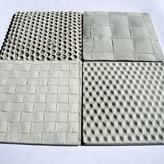 Concrete tiles cast on fabric