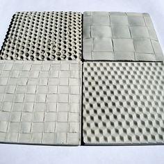 Concrete tiles cast on fabric