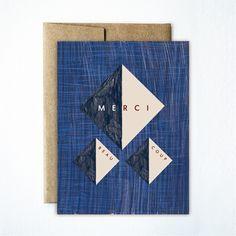 Blue straw merci triangle card - Ferme à Papier