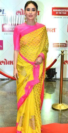 Kareena Kapoor Khan, Akshay Kumar, Sonali Kulkarni, Amruta Khanvilkar, and other eminent names from Bollywood and the Marathi film industry attended a prestigious awards event in Mumbai nbsp Silk Saree Blouse Designs, Blouse Neck Designs, Sari, Saree Dress, Bollywood Saree, Bollywood Fashion, Indian Dresses, Indian Outfits, Kareena Kapoor Saree