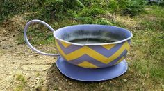 Chevron pattern teacup from recycled tire by Beholders Eye on facebook