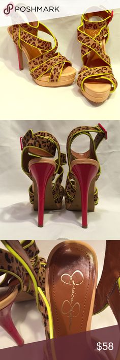 """Jessica Simpson Evangela Faux Animal Print Heels Playful Evangela heels by Jessica Simpson. These super cute heels are so versatile and great for the fashionistas that think outside of the box. Buckle closure & 5"""" with platform. Great condition! Size 7 Jessica Simpson Shoes Heels"""