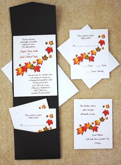 100 Personalized Custom Fall Autumn Falling Leaves Pocket Wedding Invitations Set