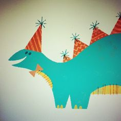 I think this is what they call a #partysaurus.  #illustration #dinosaur #party