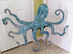 Riesige 4ft Mosaik Octopus Mosaik Wall Art mit wirbelnden Tentakeln und Saugnäpfe, Meer Kreatur, Kraken, Beach, Ocean Verwendung als Kopfteil