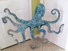 Made to Order Huge 4ft Mosaic Octopus Mosaic Wall Art with Swirling Tentacles and suction cups, Sea Creature, Kraken, Beach, Ocean Art