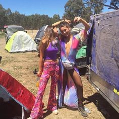 Festival Goddesses @bellageminder & @allegraweeden  Come get groovy with us this weekend at the @frothlyf market and pick up some festival threads! Saturday in Prahran and Sunday at Ceres Brunswick. We have a heap of new bright and sparkly pieces that will make you want to shake & boogie!! Image features our Exotic Marigold Flares there's one last pair left at www.flarestreet.com  #flares #bellbottoms #festivalfashion #festival #rave #fashion #design #glam #boho #hippie #gypsy #style #retro…