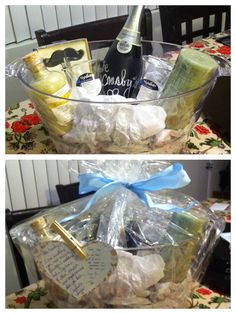 Wedding gift: DIY honey moon gift basket equipped with a custom chalk board champagne, 2 flutes, a candle, bath salts, and ice bucket.  Of course a little note from my husband and myself :)