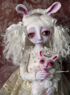 OOAK Art Doll Snow Bunny, via Etsy.
