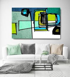 Vibrant Colorful Abstract-75. Mid-Century Modern Green Blue Canvas Art Print, Mid Century Modern Canvas Art Print up to 72 by Irena Orlov Wall Art Decor for Home, Office or Hotel MIDCENTURY ABSTRACT ART With retro colors and free formed geometric shapes, all of this pieces in my