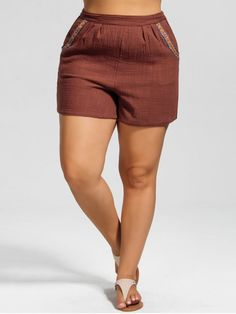dd8a3ec1e2a558 AD   High Waisted Plus Size Embroidered Shorts - BRICK-RED Style  Fashion  Length