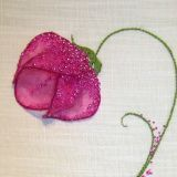 Art by Mary Whelan. Mosaic Art and Contemporary Embroidery. Customized hand stitched embroidery pieces which make fabulous gifts for all occasions. A delicate wild rose in a deep pink. This embroidery is an example of 'Stumpwork', or 3 dimensional em Bead Embroidery Patterns, Hand Embroidery Flowers, Embroidery On Clothes, Couture Embroidery, Hand Embroidery Stitches, Hand Embroidery Designs, Embroidery Techniques, Ribbon Embroidery, Bead Sewing
