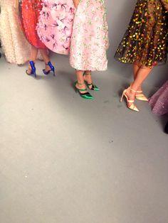 full skirts/pointy-toe heels