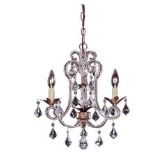 Mini chandelier with a burnished gold finish and crystal drop accents.  Product: Mini chandelierConstruction Materia...