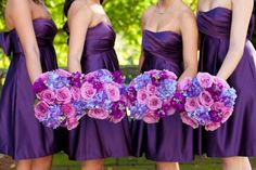 purple bridesmaid dresses with pink and purple flowers!