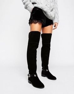 95636c98455 ASOS KASSIL Suede Western Over The Knee Boots – Black Black Cowboy Boots