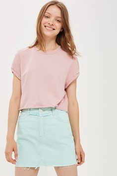 Crop Roll Back T-Shirt - Tops - Clothing - Topshop