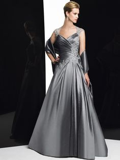 Silver lace mother of the bride dress, special occasion dresses, dress with sleeves.Val Stefani Style MB7164