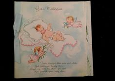 Hallmark 1960' Baby God's Masterpiece  4 Page card  used with Blue Ribbon