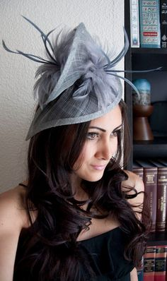 58 Gray Twist Mesh Fascinator -
