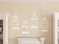 4 BIRDS CAGES Decals Removable Wall Art 2 colors by AmericanDecals, $34.99