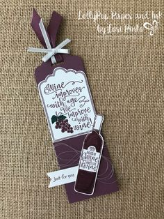 Wine Bottle Tag with Half Full Stamp Set by Lori PIntoStampinup! Wine Bottle Tag with Half Full Stamp Set by Lori PInto Wine Bottle Tags, Wine Bottle Covers, Wine Tags, Wine Bottle Crafts, Diy Bottle, Beer Bottle, Bottle Opener, Bottle Jewelry, Painted Wine Bottles