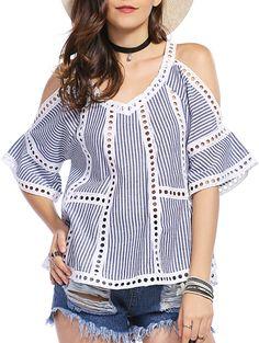 Fashion V-Neck Cold Shoulder Striped Blouse For Women