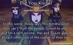 I believe I need to watch this episode again, now. I cheered so loudly when Ty Lee and Mai stood up to Azula.