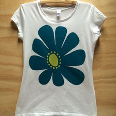 Items similar to Hand screen printed Teal Yellow, Screen Printing, Organic Cotton, My Design, Daisy, T Shirts For Women, Printed, Retro, Mens Tops