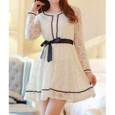 Sweet Style Scoop Collar Openwork Lace Bowknot Belt Design Slimming Long Sleeves Blended Women's Dress, APRICOT, S in Dresses 2014 | DressLily.com