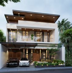 Boyke Private House Design - Jakarta Timur- Quality house design of architectural services, experienced professional Bali Villa Tropical designs from Emporio Architect. Bungalow Haus Design, Duplex House Design, House Front Design, Dream Home Design, Cool House Designs, Modern House Design, Modern Architecture House, Architecture Design, Modern House Facades
