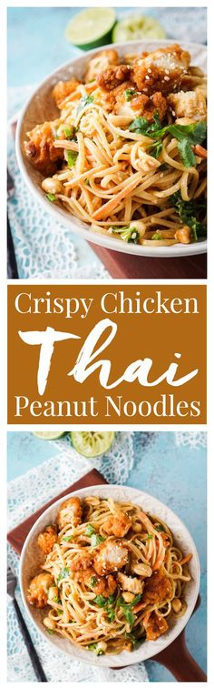 These Crispy Chicken Thai Peanut Noodles are a quick and easy meal that's perfect for weeknights! Crispy chicken tenders add a bit of crunch to this simple Thai inspired dish, on the table in just 30 minutes! [ad]