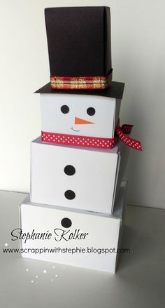 Scrappin With Stephie: Box Man. Snowman gift boxes created with the Stampin Up Gift box punch board.