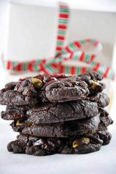 Chocolate Christmas cookies with dried cranberries and pistachios