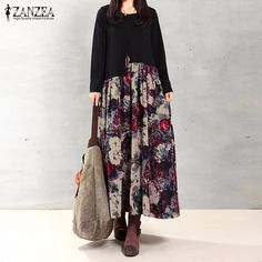 Cheap maxi long dress, Buy Quality women dress directly from China long dress Suppliers: ZANZEA Women Dress Autumn 2017 Vintage Casual Loose Long Sleeve Floral Print Cotton Linen Maxi Long Dress Oversized Vestidos