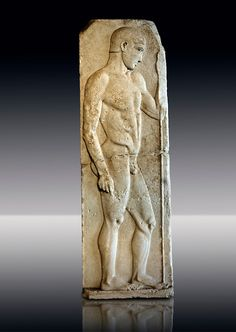 Severe Style (480 - 450 B.C, Greek Marble Funerary Stele of an athlete from Nisyros (Incir Ada) one of the Foça Islands, . Istanbul Archaeological Museum, Turkey.