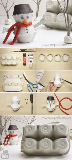 Snowman craft (from an egg carton)