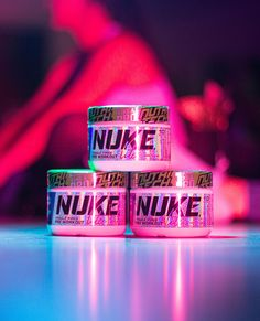 """Rack 'em and stack 'em. 🔋 NUKE LITE, a pre-workout designed specifically for the ladies. We have lowered the caffeine content and taken out the ingredients that lead to the """"tingle"""" you feel in other pre-workouts. We also reduced the tub size, making NUKE LITE easy to carry with you. #NUTRITECH #trainlikeapro"""