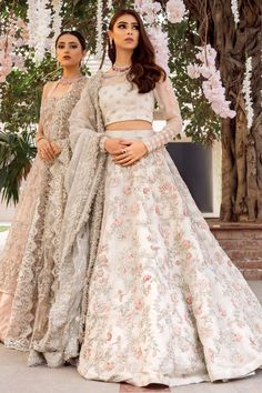 Ivory wedding dress with hand embellished lengha with pastel thread work and zardozi. Motif embellishment on blouse heavier at cuff with det. Indian Bridal Outfits, Pakistani Wedding Dresses, Lehenga Wedding, Indian Wedding Guest Dress, Asian Bridal Dresses, Asian Wedding Dress, Punjabi Wedding, Desi Wedding Dresses, Designer Dresses For Wedding