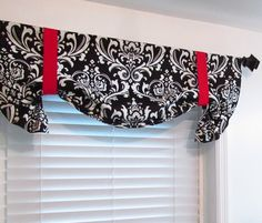 Red Black White Damask Tie Up Curtain Valance by supplierofdreams