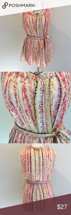 NWOT - Lovely Alfani Silk Blouse⚡️FLASH SALE⚡️ Beautiful shades of pinks and yellow to wear with all your summer colors - ties at waist with small ruffle around the neck - 100% silk Alfani Tops Blouses