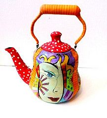 POP ART - teapot  polymer clay
