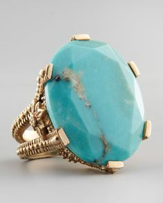 Oval Turquoise Cocktail Ring by Stephen Dweck at Bergdorf Goodman.