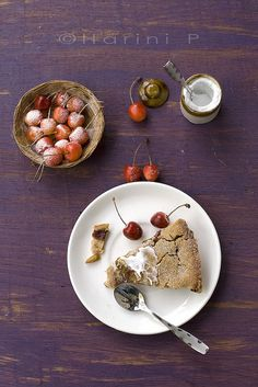 Gluten-Free Vegan Cherry Tart.  I love the rustic layout.