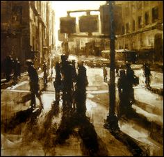 Composition 71 by Jeremy Mann- Oil on Panel - 48 x 48 in.