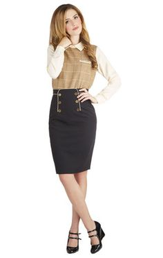 Panel of Poets Skirt. Your ability to transform strings of words and phrases into beautiful poetry and prose has earned you a rightful spot on todays panel! Work Skirts, Cute Skirts, Retro Outfits, Vintage Style Outfits, Retro Fashion, Vintage Fashion, Womens Fashion, Modest Fashion, Fashion Outfits