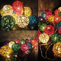 20 Mixed Multi Handmade Rattan Balls Fairy String Lights Party Wedding Patio