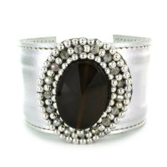 Onyx Colored Stone And Adjustable Silver Colored Cuff Bracelet Forza Jewelry. $42.99