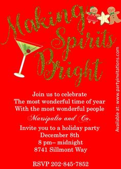 Making Spirits Bright Christmas Party Invitations Cocktail Decor